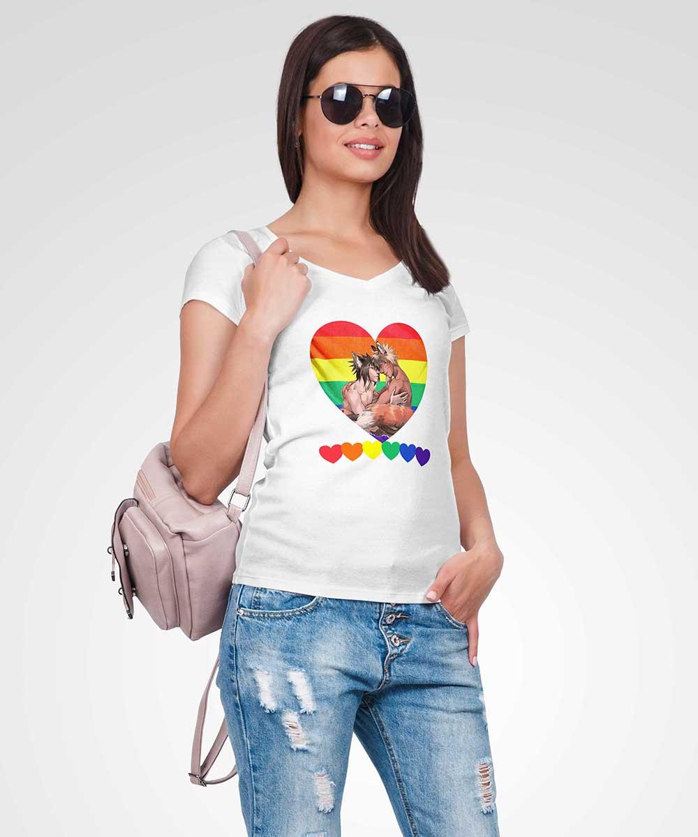 Ladies V-Neck T-shirt - Pride